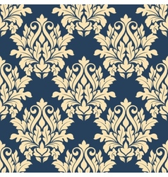 Damask style seamless pattern on blue vector