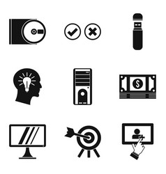 Data processing icons set simple style vector