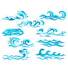 Decorative blue sea waves and surf icons vector
