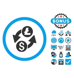 Dollar Litecoin Exchange Flat Icon with vector