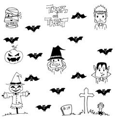 Doodle of halloween bat witch vector