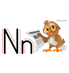 English alphabet abc education owl bird hold vector
