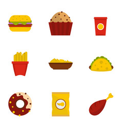 Fast food icon set flat style vector