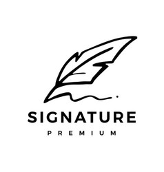 Feather pen ink signature logo icon vector