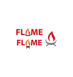 flame logo template set vector image
