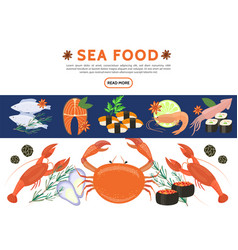 Flat sea food icons set vector