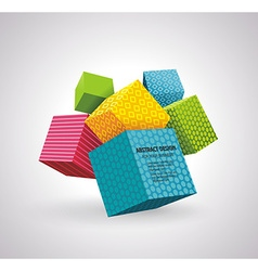 Flying cubes colorful bright wave perspective vector