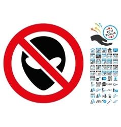 Forbidden Alien Icon with 2017 Year Bonus Symbols vector image