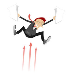frightened businessman and arrow signs concept vector image