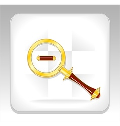 Gold magnifier icon or button with minus vector