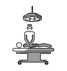 Grayscale silhouette with pictogram patient in vector