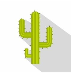 Green cactus icon flat style vector