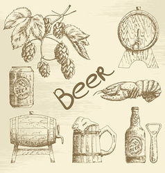 Hand drawn beer sketch vector image