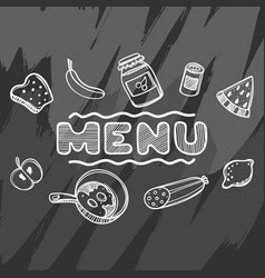 hand drawn menu for cafe with food vector image