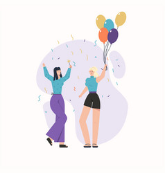 Happy young girls with balloons and confetti vector