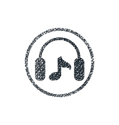 Headphones with music note icon with hand drawn vector image