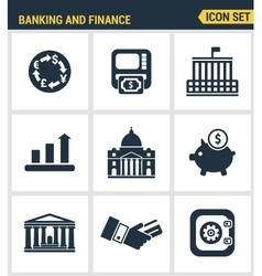 Icons set premium quality of money making banking vector image