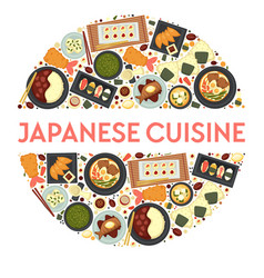 japanese cuisine traditional dishes icons set in vector image