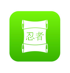Japanese traditional scrol icon digital green vector
