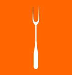 Large fork white icon vector