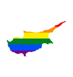 Lgbt flag map of cyprus rainbow map of cyprus in vector