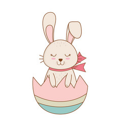 little rabbit with egg broken painted easter vector image