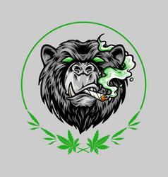 Marijuana smoke scary bear weed mascot logo vector