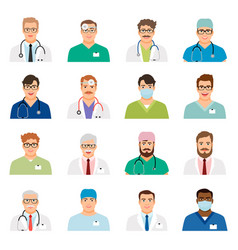 Medicine physician men face portrait icons vector