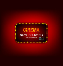 Movie timenow showing banner sign theater sign or vector