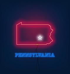 Neon map state of pennsylvania on dark background vector