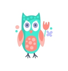 Owl With Party Attributes Girly Stylized Funky vector