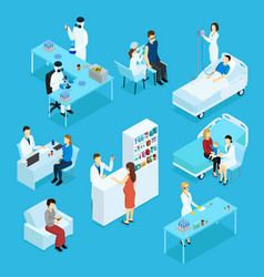 People and healthcare isometric set vector