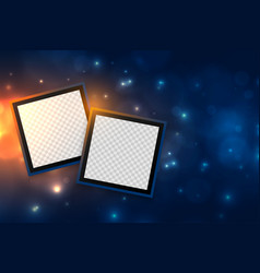 Picture photo frames in glowing sparkle background vector