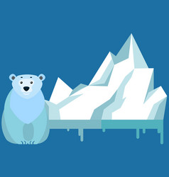 polar bear against background iceberg melting vector image