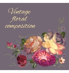 Post card with a composition of different flowers vector image