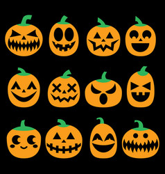 pumpkin icons set halloween scary faces vector image