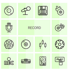 Record icons vector