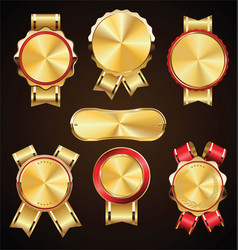 retro vintage golden medals and labels collection vector image