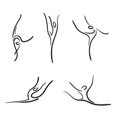 Rhythmic gymnastics sketches set vector