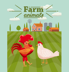 Rooster and chicken are farm animals rural vector