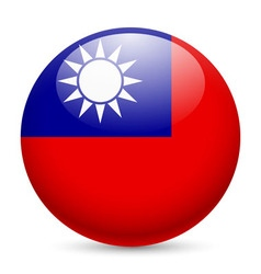 Round glossy icon of taiwan vector