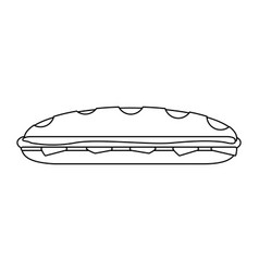 Sandwich fresh food black and white vector