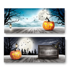Scary halloween banners with pumpkins and wooden vector