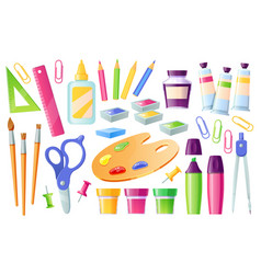 School supplies and stationery learning items set vector