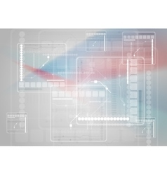 Sci-fi blue red abstract technology background vector