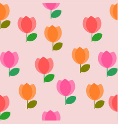 seamless colorful tulip flowers pattern on light vector image