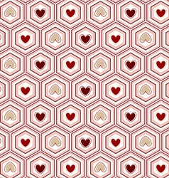 Seamless pattern heart of in the hexagon vector
