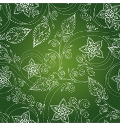 Seamless pattern with flowers doodles cucumbers vector image