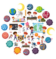 set children with science education objects vector image