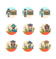 set of multicolor history icons vector image